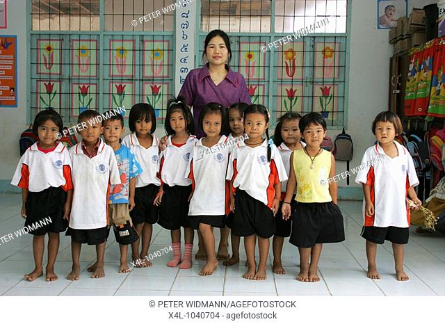 Thai children and in a classroom at School Thailand