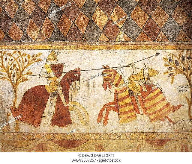 Duel between a French knight and Manfred, son of Emperor Frederick II, for the conquest of the Kingdom of Sicily, fresco from Ferrande Tour