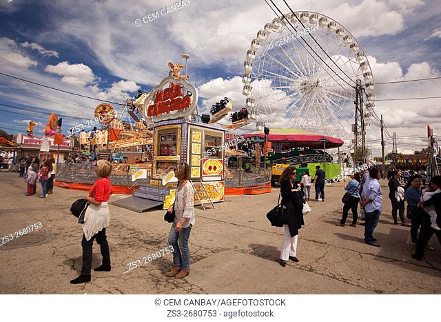Scene from the Amusement park close to the April Fair-Feria de Abril, Seville, Andalusia, Spain, Europe