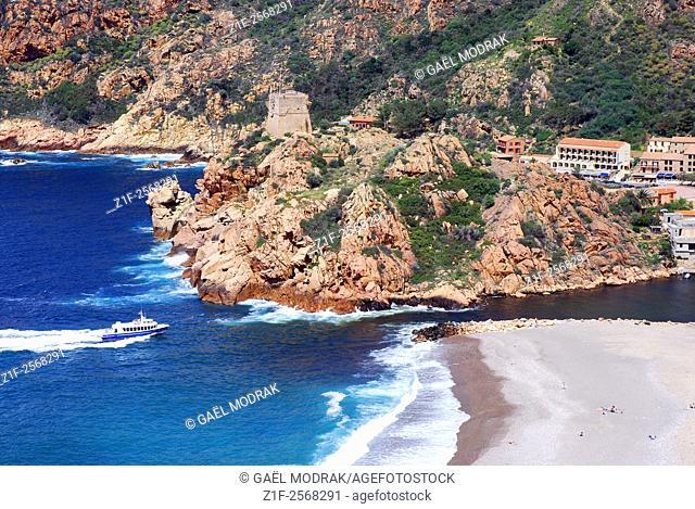 Marina of Porto on the west coast of Corsica island, France