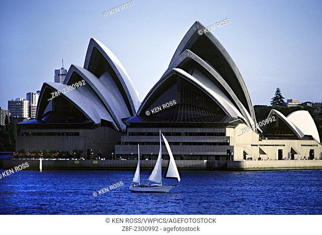 Sydney Opera House with Sailboat, Sydney, Australia