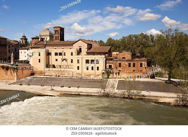 Isla Tiberina-Tiber Island by the Tiber River, Rome, Italy, Europe