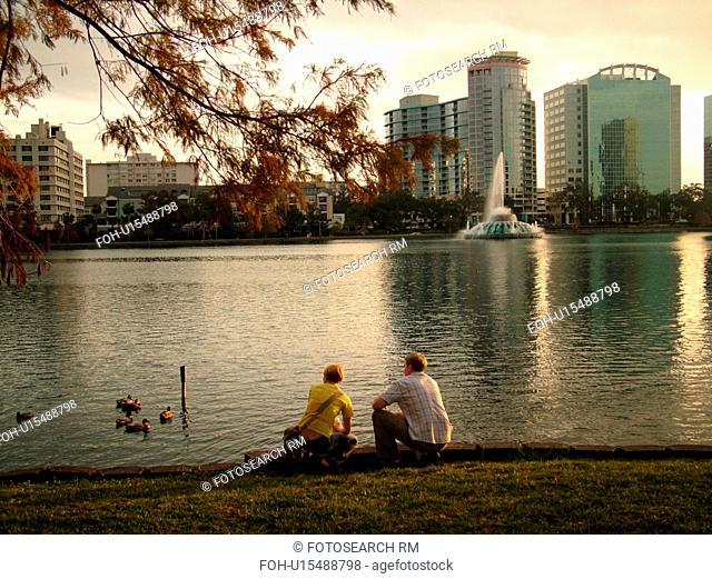 Orlando, FL, Florida, Downtown skyline, Lake Eola, Lake Eola Park