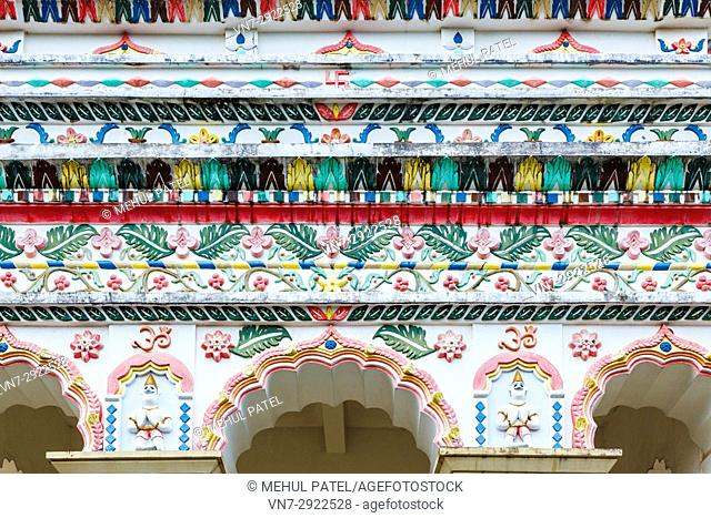 Detail on the exterior wall of the main temple of Maheshwarnath Mandir, Triolet, Mauritius. Maheshwarnath Mandir or Temple as it is also known is oldest and...