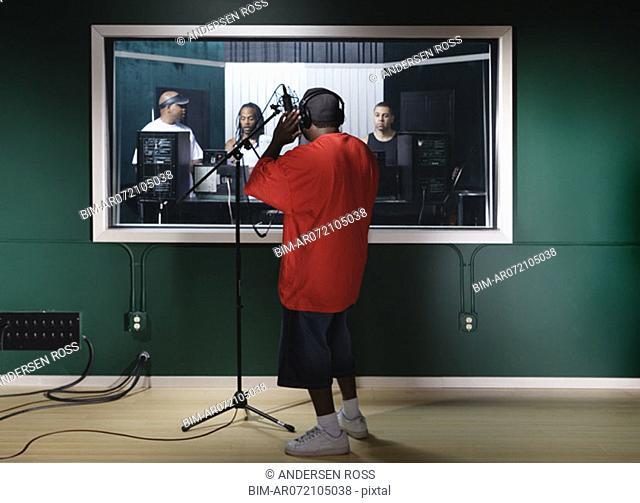 Musicians recording music
