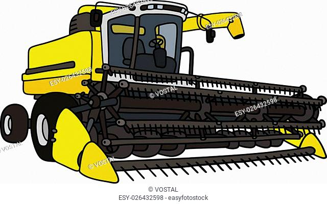 Hand drawing of a yellow harvester