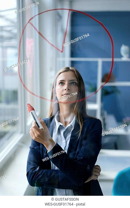 Young busnesswoman drawing a pie cahart on a glass screen