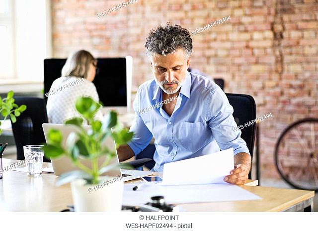 Businessman working in office checking documents