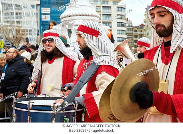 Cabalgata de Reyes Magos, Christmas, Donostia, San Sebastian, Gipuzkoa, Basque Country, Spain, Europe