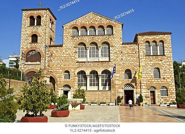 The 4th century AD Romanesque 3 aisled basilica of Saint Demetrius, or Hagios Demetrios, Άγιος ΔημήτÏ. ιος, a Palaeochristian and Byzantine...