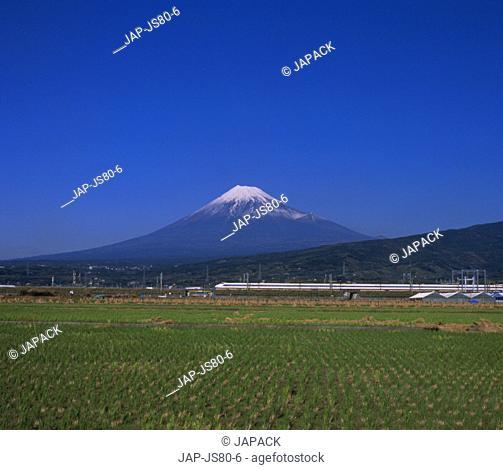 Mt, Fuji, Japan and bullet train