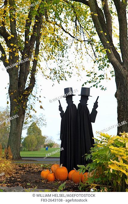 Halloween display in city park, Parc des Champs-de-Bataille, Quebec City, Quebec, Canada, October