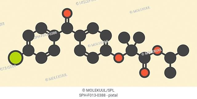 Fenofibrate cholesterol lowering drug (fibrate class) molecule. Stylized skeletal formula (chemical structure). Atoms are shown as color-coded circles: hydrogen...
