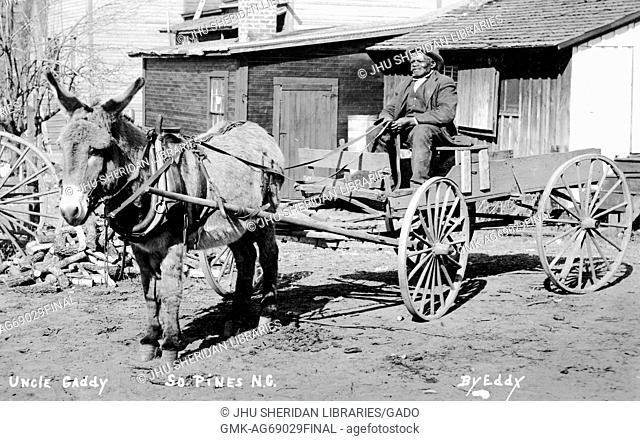 Full length sitting portrait of elderly African American man sitting in wagon carried by mule, wearing dark vest, dark jacket, dark pants and hat