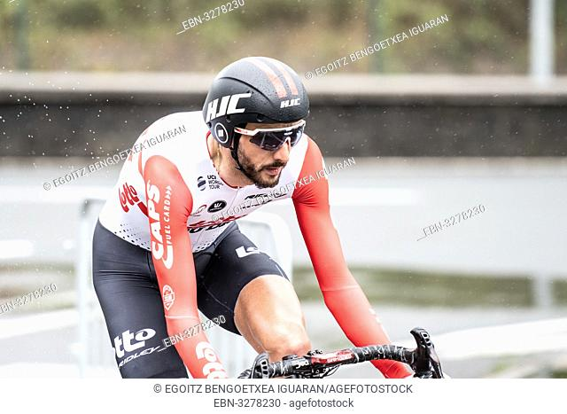 Jelle Vanendert at Zumarraga, at the first stage of Itzulia, Basque Country Tour. Cycling Time Trial race