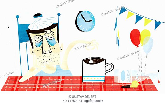 Man with hangover and ice pack on head stirring coffee