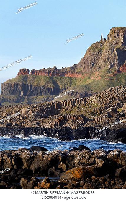 Giant's Causeway with Chimney Stacks, Causeway Coast, County Antrim, Northern Ireland, United Kingdom, Europe