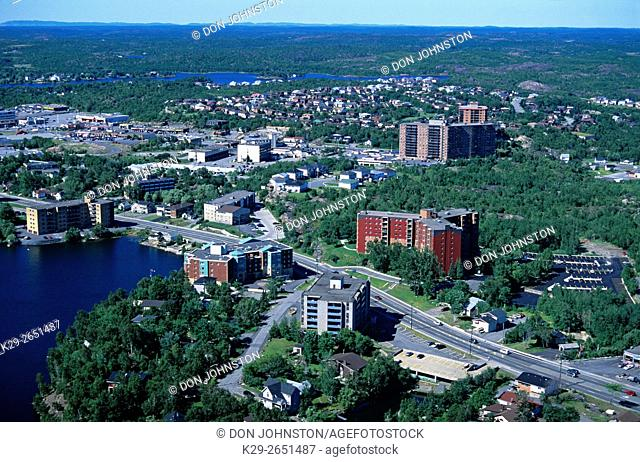 Aerial view of downtown and suburban Sudbury, Greater Sudbury, Ontario, Canada