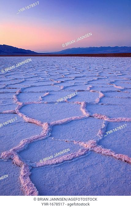 Salt Polygons near Badwater Basin, Death Valley, California USA
