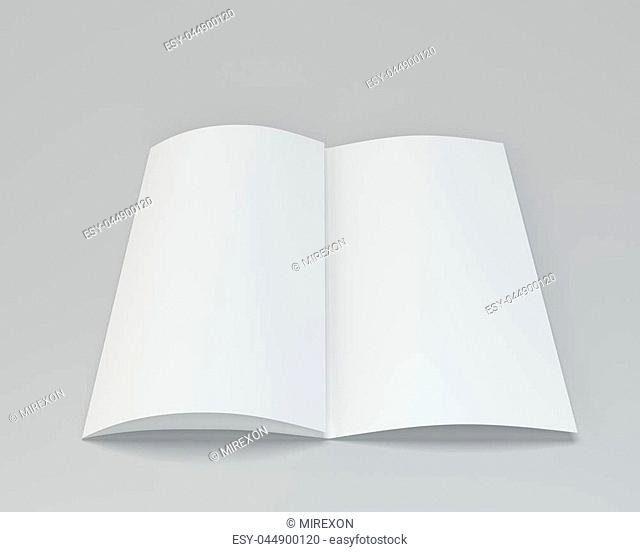Blank folded white brochure. 3d rendering on gray background