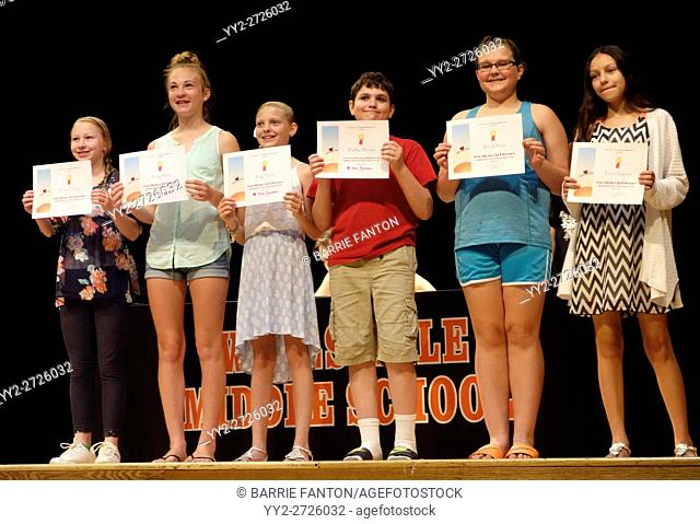 Middle School Students Receiving Academic Awards, Wellsville, New York, USA