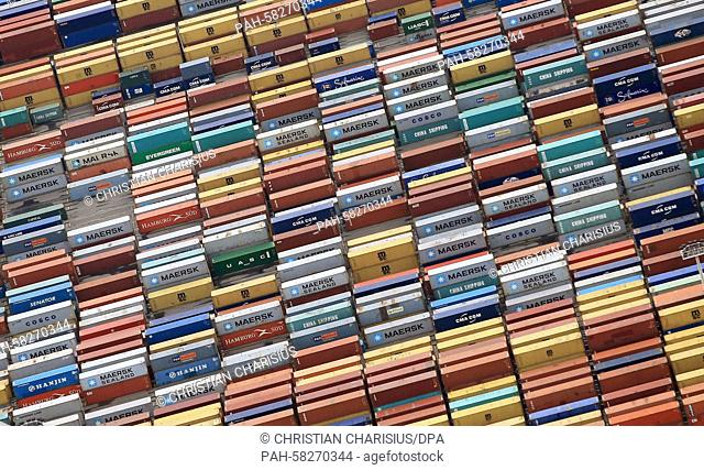 Containers are stored at the container terminal of Eurogate at the Port of Hamburg, Germany, 09 May 2015. The German Federal Statistical Office will publish a...