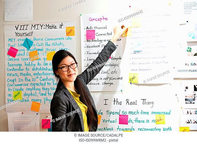 Woman with adhesive notes and papers on wall