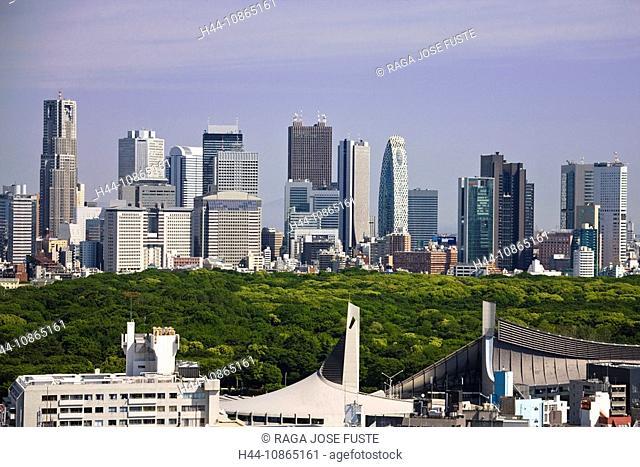 Japan, Tokyo City, Shinjuku District, Skyline, Meiji Park