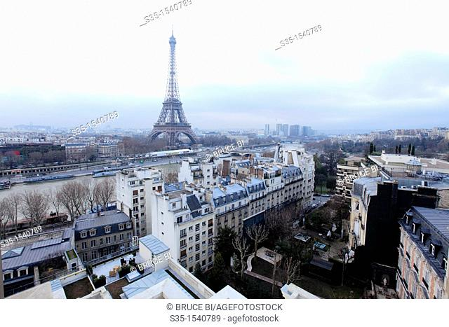 The view of Eiffel Tower from La Suite Shangri-La-terrace in top of Shangri-La Hotel Paris  Paris  France