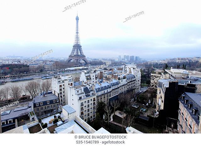The view of Eiffel Tower from La Suite Shangri-La-terrace in top of Shangri-La Hotel Paris  Paris  France