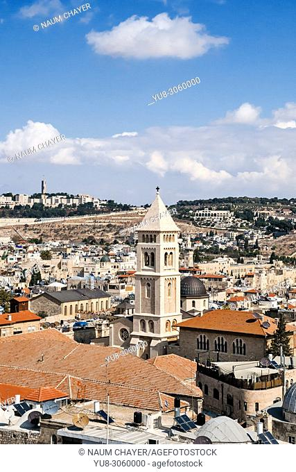 Jerusalem view with tower of Church of the Redeemer, Jerusalem, Israel