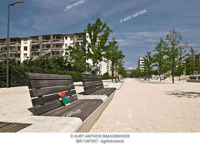 New, large and modern play ground in a new estate, Arnulfpark, Munich, Bavaria, Germany, Europe