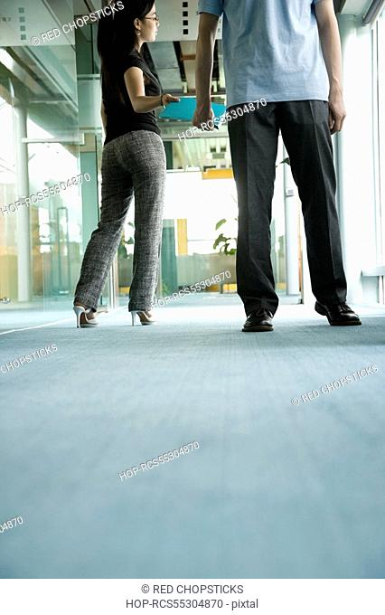 Two office workers standing in a corridor with files