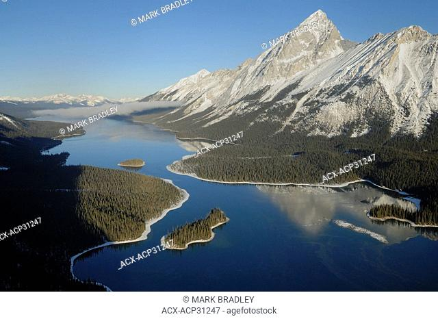 Aerial view of Maligne Lake, Jasper National Park, Alberta, Canada