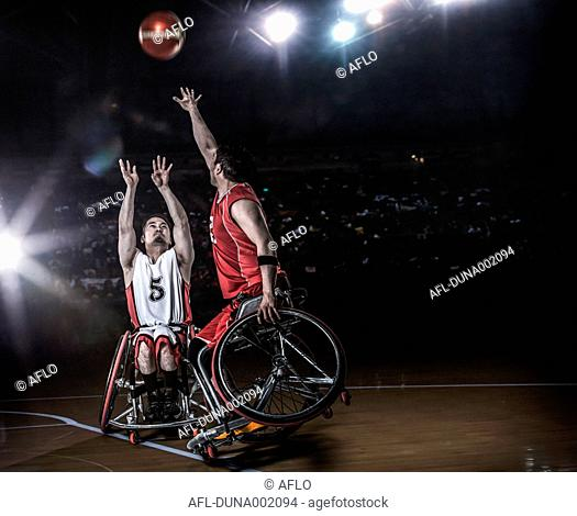 Wheelchair basketbal players in action