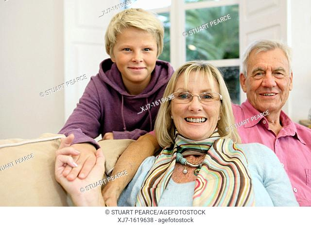 Senior couple with grandson