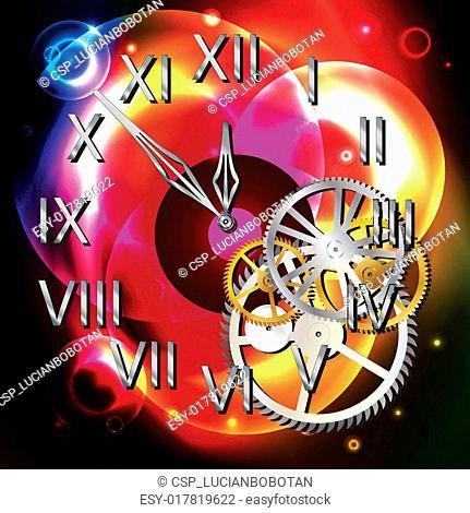 Clock over light shapes