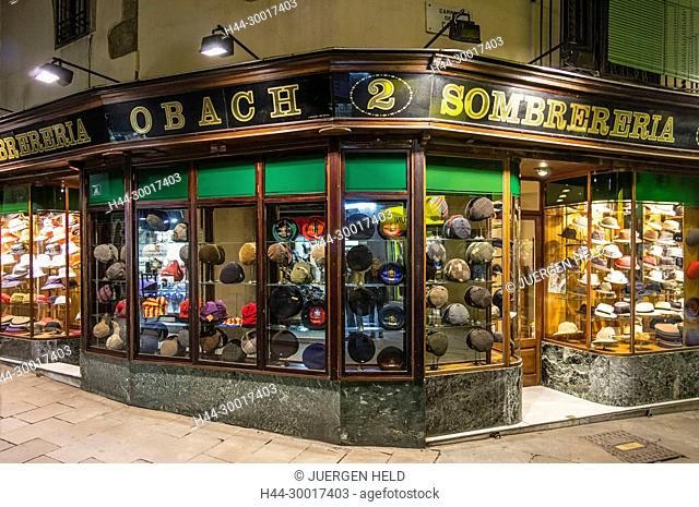 Spain, Catalonia, Catalunya, Barcelona, La Ramblas, Sombrereria Obach, shop window