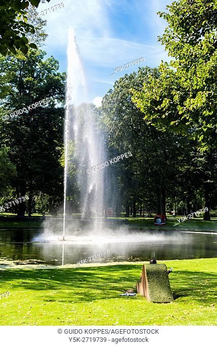 Breda, Netherlands. Fountain decorating Valkenberg's city park main pond