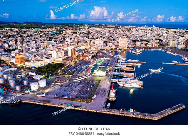 Aerial view of ishigaki downtown