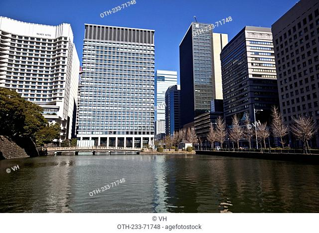 Overlooking the business centre at Marunouchi from Imperial palace area, Tokyo, Japan
