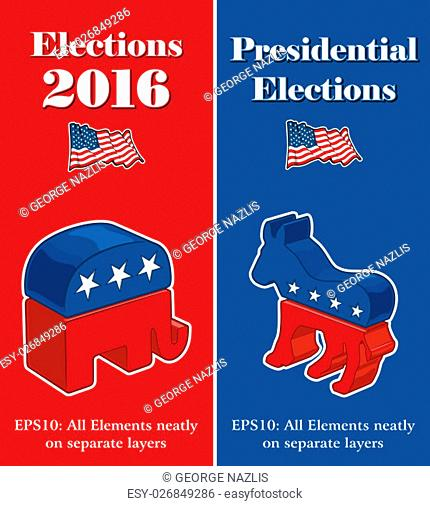 Vector banner mock ups about the American Presidential Elections compiled by the Republican and Democratic party symbols Illustrated as 3 dimensional objects
