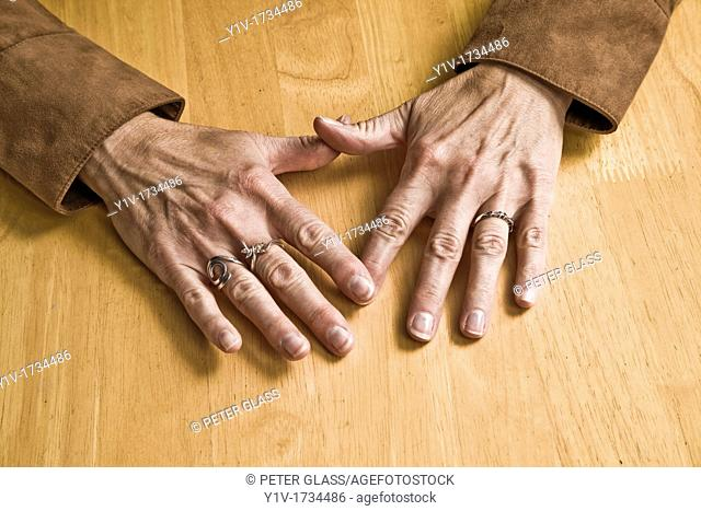 Middle-age woman's hands