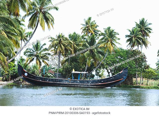 Boat in a lagoon, Kerala Backwaters, Alleppey, Alappuzha District, Kerala, India
