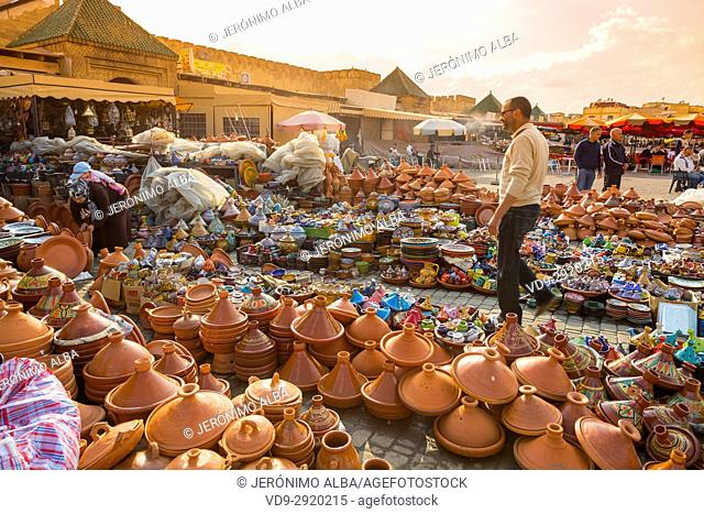 Pottery, tajines dishes, Imperial city Meknes, Morocco, Maghreb North Africa