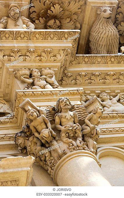 Basilica of Santa Croce or Church of the Holy Cross is a famous baroque church in Lecce, a historic city in Apulia, Southern Italy
