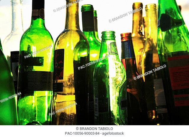 Hawaii, Oahu, Close up of recyclable Glass empty wine and beer bottles