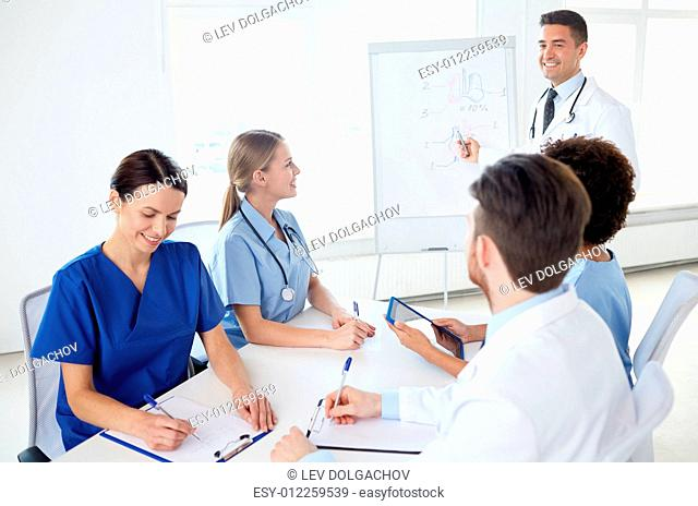 medical education, health care, medical education, people and medicine concept - group of happy doctors or interns with mentor meeting and drawing on flip board...