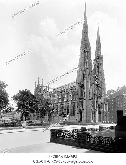St. Patrick's Cathedral, Fifth Avenue, New York City, New York, USA, Detroit Publishing Company, early 1900's