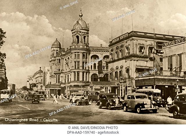 Postcard old Chowringhee road , Calcutta Kolkata , West Bengal , India Heritage